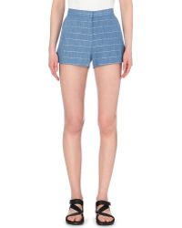 Sandro Striped Cotton-Blend Shorts - For Women blue - Lyst