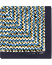 Turnbull & Asser Zigzag Silk Pocket Square - For Men blue - Lyst