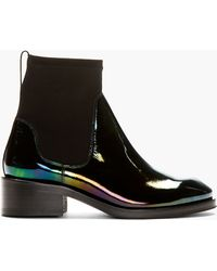 Acne Black Patent Leather Oil Slick Chelsea Boots - Lyst