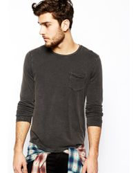 Asos Long Sleeve Tshirt with Acid Wash and Pocket - Lyst