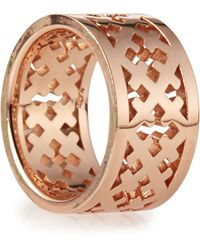 Katie Design Jewelry - Rose Gold Crosses Band Ring - Lyst