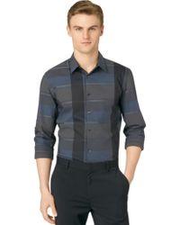 Calvin Klein Exploded Plaid Button Down Shirt - Lyst