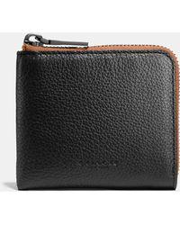 COACH | Half Zip Wallet In Pebble Leather | Lyst