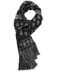 Alexander McQueen Black and Grey Wool Skull Printed Scarf - Lyst