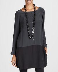Eileen Fisher Silk Colorblock Tunic - Lyst