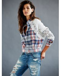 Free People Fp X Plaid Lace Jacket - Lyst