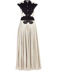 Carven Gingham Pleated Maxi Dress - Lyst