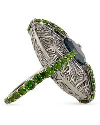 Stephen Dweck - Engraved Silver Cross Ring With Topaz & Chrome Diopside - Lyst