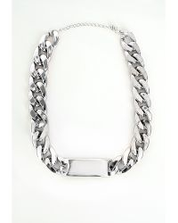 Missguided Chain Id Plate Necklace Silver - Lyst