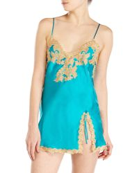 La Perla Teal Embroidered Silk Chemise - Lyst