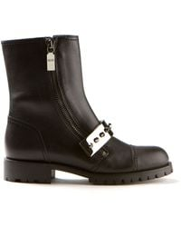 Alexander McQueen Black Leather Biker Boots - Lyst
