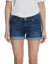 7 For All Mankind Rollup Denim Shorts - Lyst