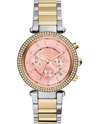 Michael Kors Women'S Chronograph Parker Two-Tone Stainless Steel Bracelet Watch 39Mm Mk6140 - Lyst