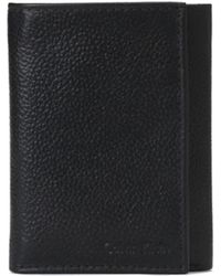 Calvin Klein Trifold Pebbled Leather Wallet - Lyst