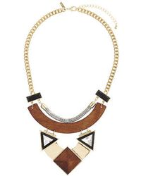 Topshop Triangle Crystal Stone Wooden Collar - Lyst