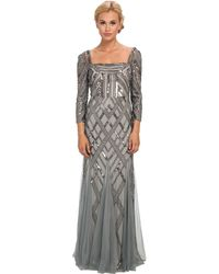 Adrianna Papell 34 Sleeve Envelope Back Artdeco Bead Gown - Lyst