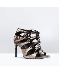 Zara Highheeled Snake Print Leather Sandal - Lyst