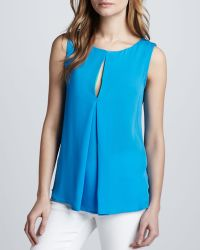 Halston Heritage Sleeveless Top with Colorblock Front Slit - Lyst