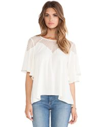 Ella Moss Nikita Lace Yoke Top - Lyst