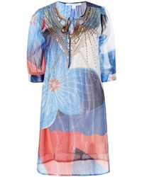 Diane Von Furstenberg Nessa Embellished Silk Blend Georgette Tunic Dress - Lyst