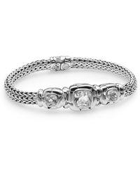 John Hardy Batu White Topaz  Sterling Silver Three-stone Bracelet - Lyst