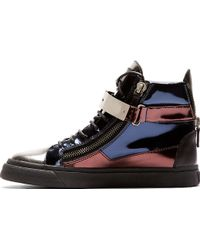 Giuseppe Zanotti Navy Metallic Leather High_top Sneakers - Lyst