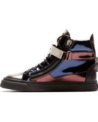 Giuseppe Zanotti Navy Metallic Leather High_Top Sneakers - Lyst