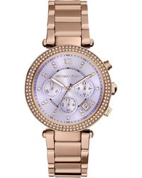 Michael Kors Women'S Chronograph Parker Rose Gold-Tone Stainless Steel Bracelet Watch 39Mm Mk6169 - Lyst