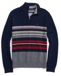 Tommy Hilfiger Half Zip Stripe Sweater - Lyst