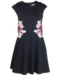 Carven Floral Embroidered Jersey Dress - Lyst