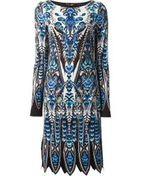 Roberto Cavalli Abstract All Over Print Dress - Lyst
