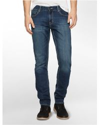 Calvin Klein Slim Leg Authentic Blue Wash Jeans - Lyst