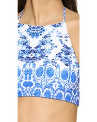 Amore & Sorvete - Hawaii Halter Bikini Top - Blue China - Lyst