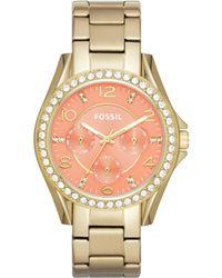 Fossil | Womens Riley Goldtone Stainless Steel Bracelet Watch 38mm | Lyst