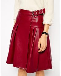 Asos Kilt Skirt With Wrap In Leather Look - Lyst