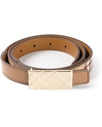 Burberry Plaque Buckle Belt - Lyst
