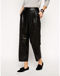 Asos Leather Look Peg Pants - Lyst