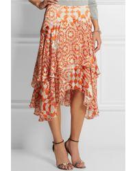 Preen Kenobi Printed Devoré Silkblend Chiffon Skirt - Lyst