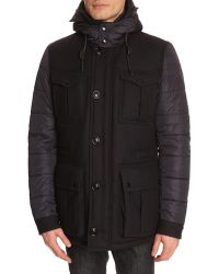 Tommy Hilfiger Alan Wool And Nylon Blue Parka With Removable Hood - Lyst