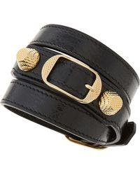 Balenciaga Giant 12 Yellow Golden Leather Wrap Bracelet - Lyst
