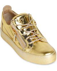 Giuseppe Zanotti Homme Metallic Leather Sneakers - Lyst