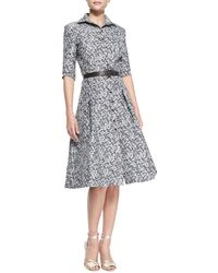 Carolina Herrera Black Pixelated Shirtdress - Lyst