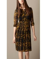 Burberry Floral Print Check Silk Dress - Lyst