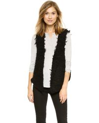 Free People Fur Away Vest Black - Lyst