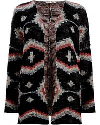 Maje Multicolour Maori Knitted Cardigan - Lyst