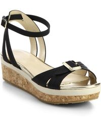 Jimmy Choo Nefta Leather And Cork Platform Sandals - Lyst