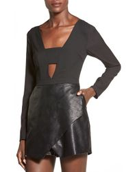 Missguided Faux Leather Skort Romper - Lyst