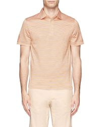 Canali Cotton Striped Polo Shirt - Lyst