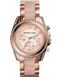 Michael Kors Mid-Size Rose Golden Stainless Steel Blair Chronograph Glitz Watch - Lyst