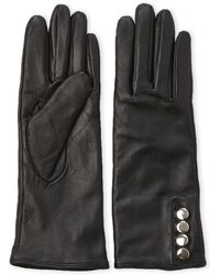 Adrienne Vittadini | Button-Accented Leather Tech Gloves | Lyst